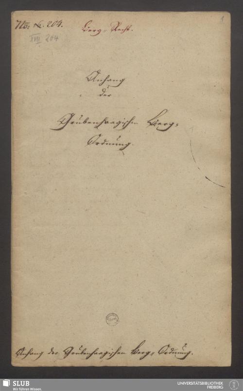 Vorschaubild von Anhang der Grubenhaagischen Berg-Ordnung - XVII 204 4.