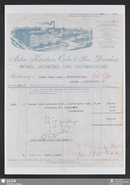 Vorschaubild von Anton Künstner, Oelsa (Bez. Dresden), Möbel-, Sitzmöbel- und Tischindustrie