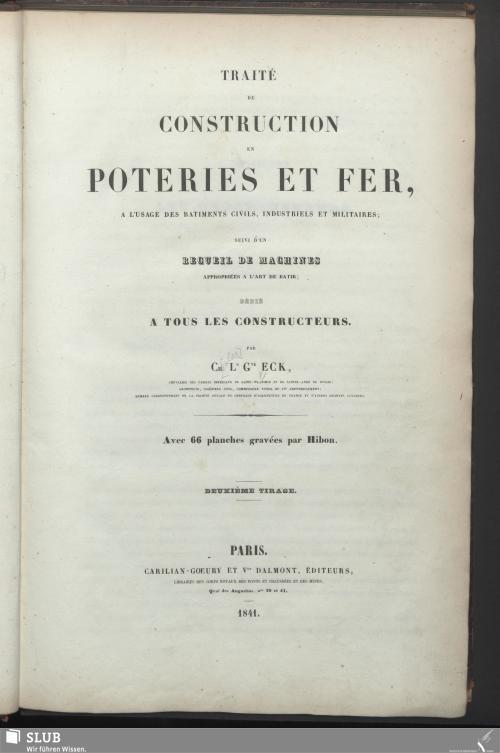 Vorschaubild von Traité De Construction En Poteries Et Fer