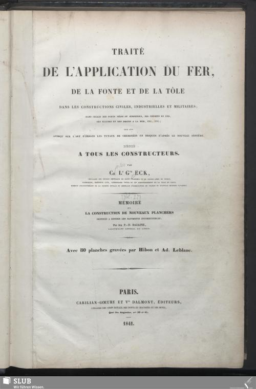 Vorschaubild von Traité de l'application du fer, de la fonte et de la tôle dans les constructions civilies, industrielles et militaires