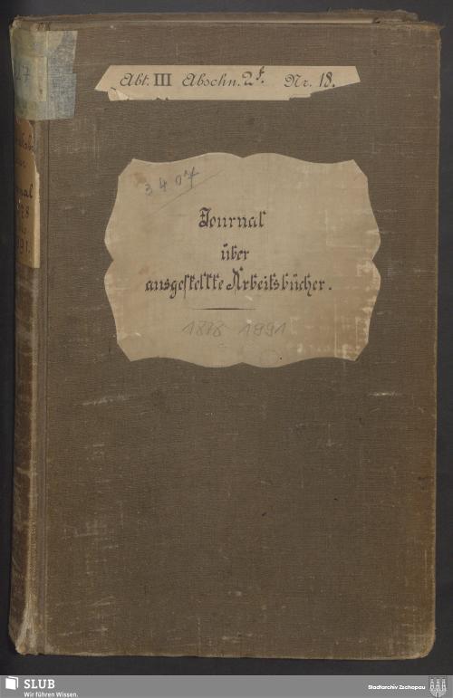 Vorschaubild von Journal über ausgestellte Arbeitsbücher - 3407