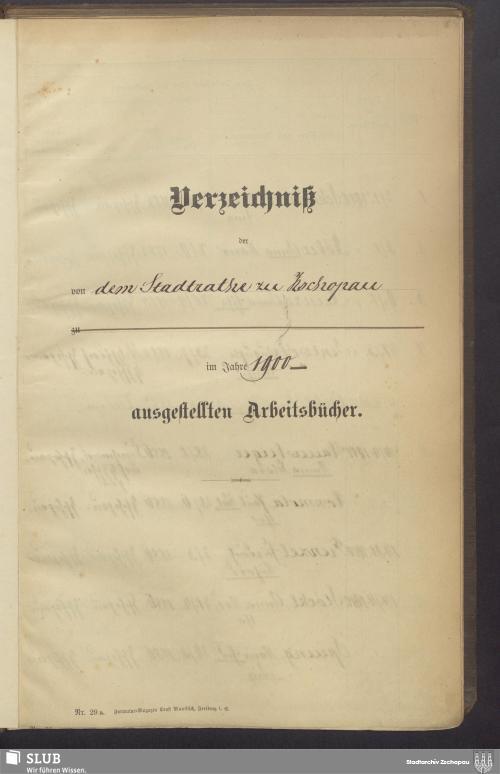 Vorschaubild von Verzeichniß der von dem Stadtrathe Zschopau ausgestellten Arbeitsbücher - 3408