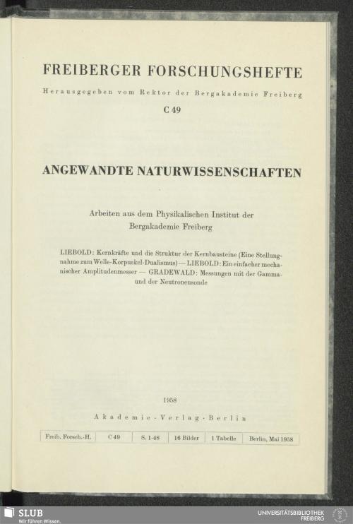 Vorschaubild von Arbeiten aus dem Physikalischen Institut der Bergakademie Freiberg