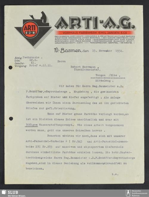 Vorschaubild von Arti-A.G., vormals Farbwerk Emil Jansen & Co., W.-Barmen
