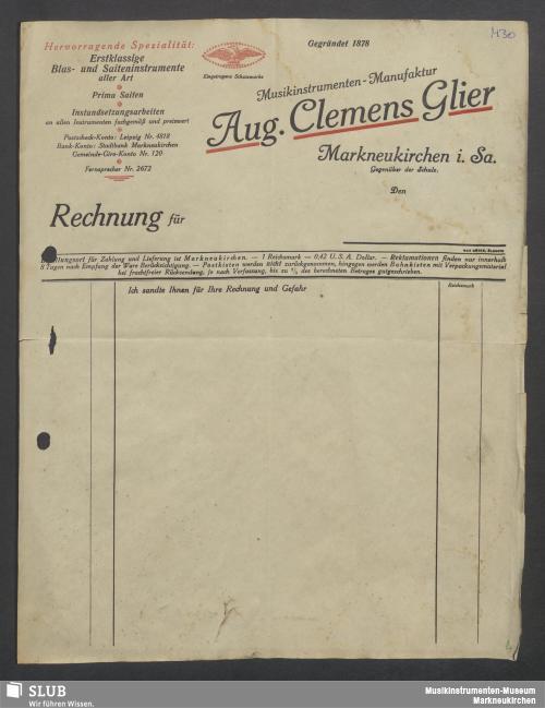 Vorschaubild von Aug. Clemens Glier, Musikinstumenten-Manufaktur, Markneukirchen i. Sa.