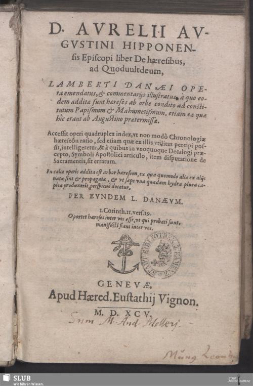 Vorschaubild von D. Avrelii Avgvstini Hipponensis Episcopi liber De haeresibus, ad Quoduultdeum