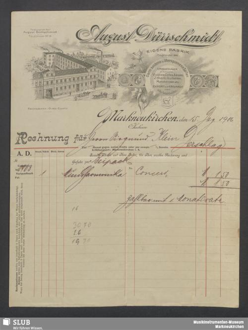 Vorschaubild von August Dürrschmidt, Darm-seidene u. übersponnene Saiten, Markneukirchen, Sachsen