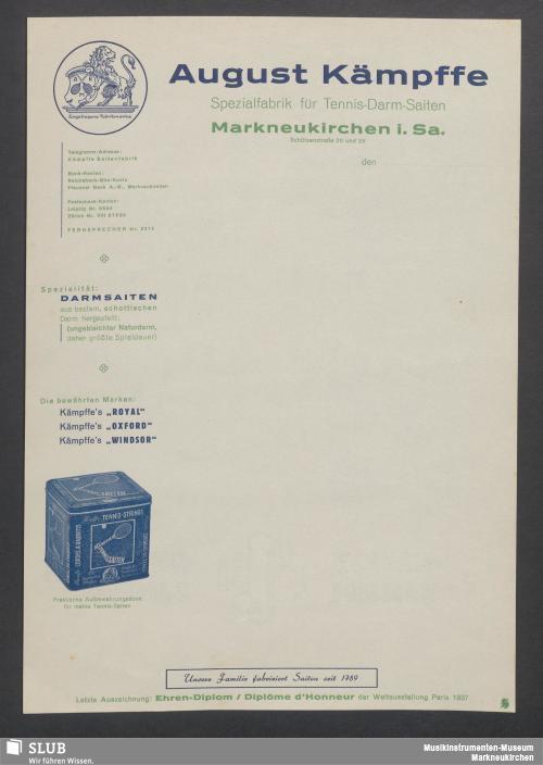 Vorschaubild von August Kämpffe, Spezialfabrik für Tennis-Darm-Saiten, Markneukirchen i. Sa.