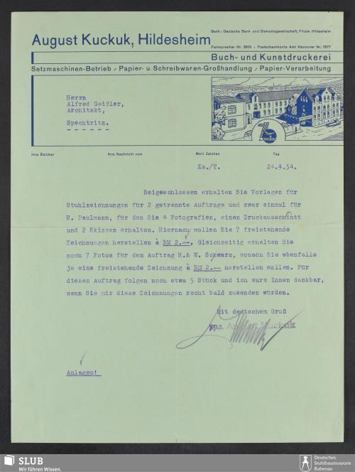 Vorschaubild von August Kuckuk, Hildesheim, Buch- und Kunstdruckerei