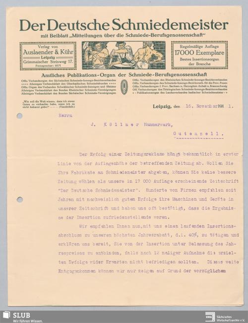 """Vorschaubild von """"Der Deutsche Schmiedemeister"""" mit Beiblatt """"Mitteilungen über die Schmiede-Berufsgenossenschaft"""", Verlag von Auslaender & Kühr, Leipzig"""