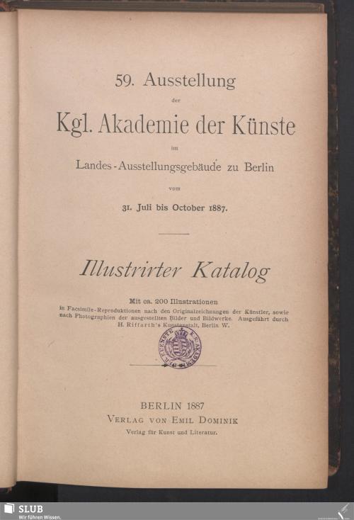 Vorschaubild von 59. Ausstellung der Kgl. Akademie der Künste im Landes-Ausstellungsgebäude zu Berlin
