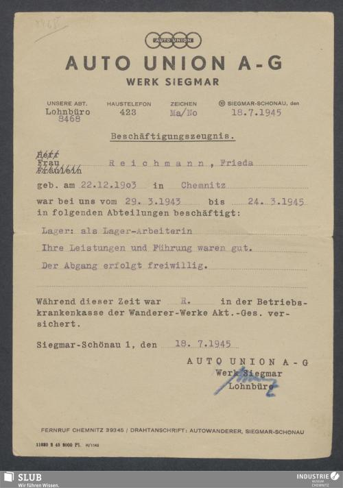 Vorschaubild von Auto Union A-G, Werk Siegmar