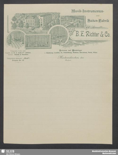 Vorschaubild von B. E. Richter & Co., Musik-Instrumenten- und Saiten-Fabrik, Markneukirchen, Sachsen