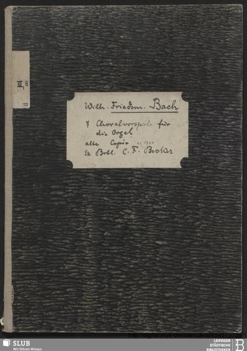 Vorschaubild von 7 Chorale arrangements - Becker III.8.23