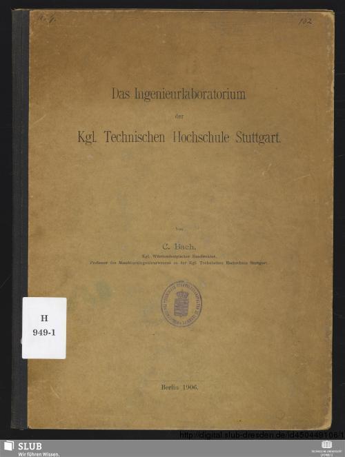Vorschaubild von Das Ingenieurlaboratorium der Kgl. Technischen Hochschule Stuttgart