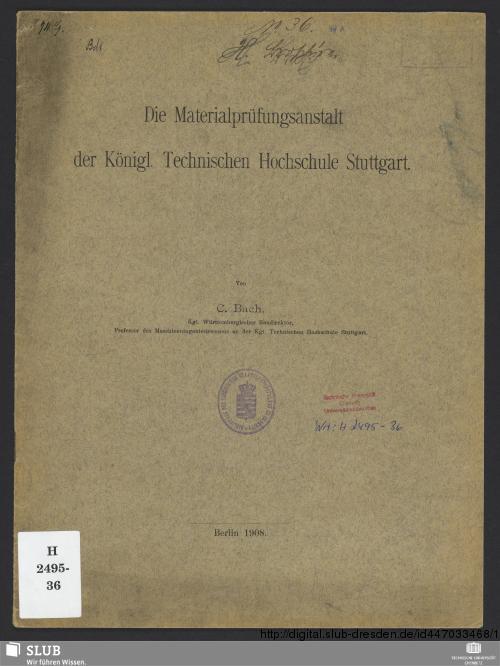 Vorschaubild von Die Materialprüfungsanstalt der Königl. Technischen Hochschule Stuttgart