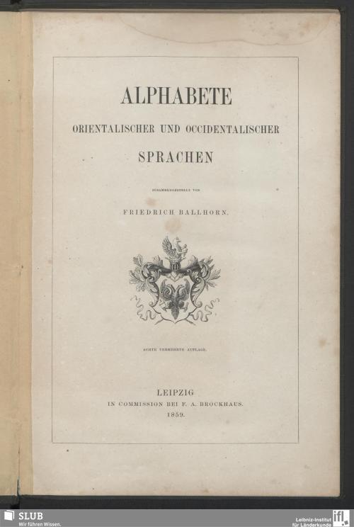 Vorschaubild von Alphabete orientalischer und occidentalischer Sprachen