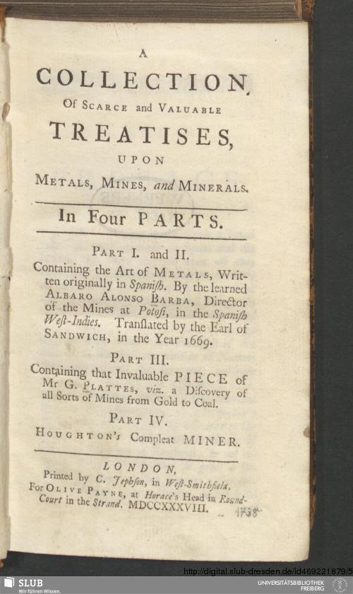 Vorschaubild von A Collection Of Scarce and Valuable Treatises, Upon Metals, Mines, and Minerals