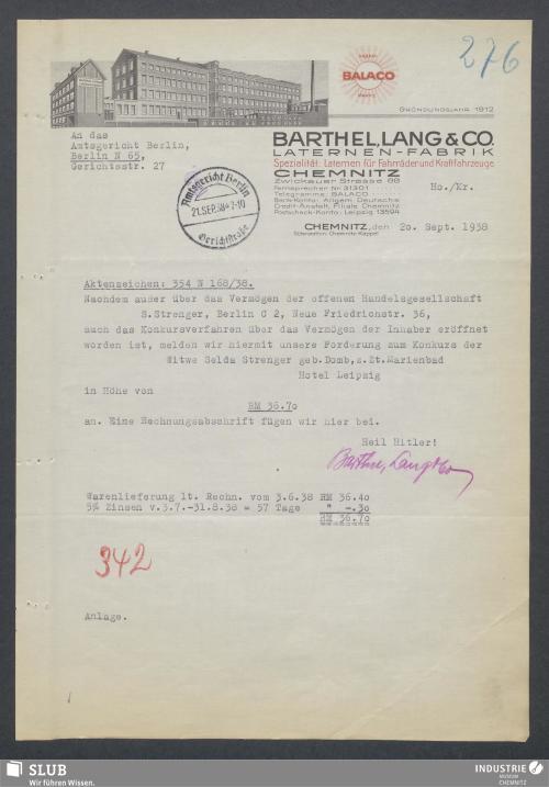 Vorschaubild von Barthel, Lang & Co., Laternen-Fabrik, Chemnitz