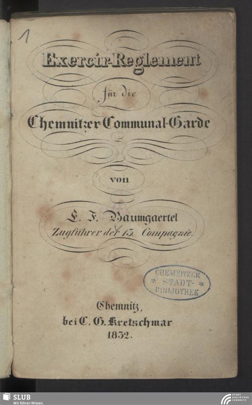 Vorschaubild von Exercir-Reglement für die Chemnitzer-Communal-Garde