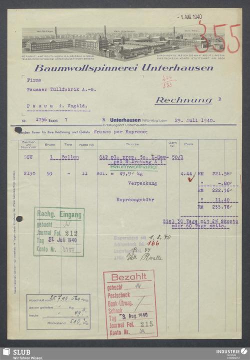 Vorschaubild von Baumwollspinnerei Unterhausen
