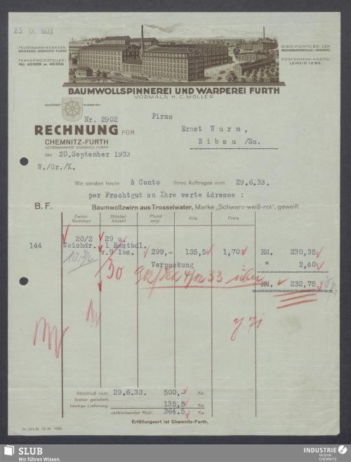 Vorschaubild von Baumwollspinnerei und Warperei Furth, vormals H. C. Müller, Chemnitz-Furth