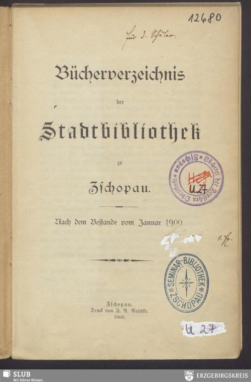 Vorschaubild von Bücherverzeichnis der Stadtbibliothek zu Zschopau