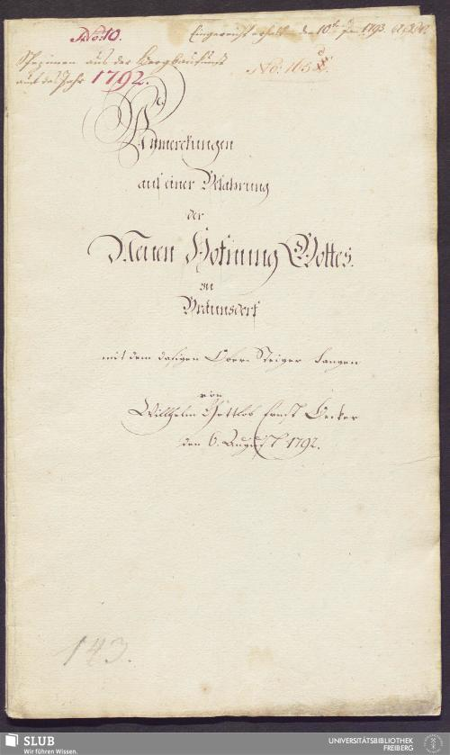Vorschaubild von Anmerckungen auf einer Befahrung der Neuen Hofnung Gottes zu Bräunsdorf mit dem dasigen Ober-Steiger Langen - 17.6145 4.