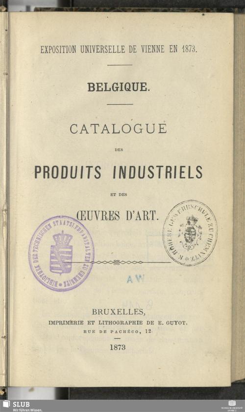 Vorschaubild von Belgique - Catalogue des produits industriels et des ouvres d'art