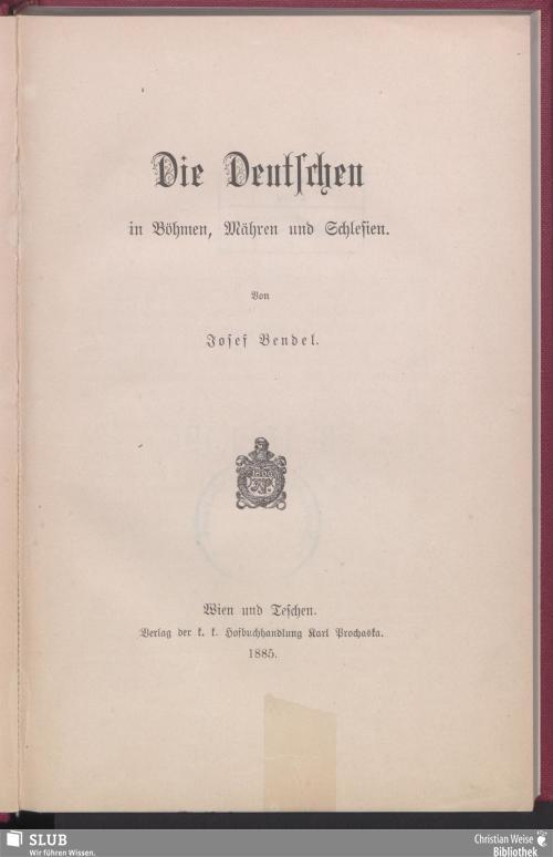 Vorschaubild von Die Deutschen in Böhmen, Mähren und Schlesien