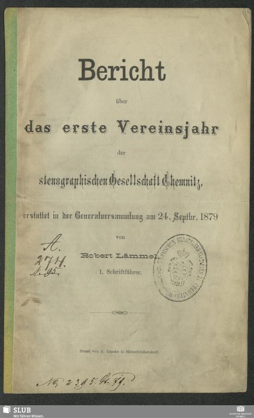 Vorschaubild von [Bericht über das ... Vereinsjahr der Stenographischen Gesellschaft Chemnitz]