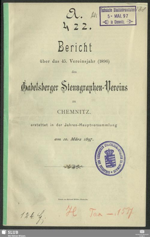 Vorschaubild von [Bericht über das ... Vereinsjahr ... des Gabelsberger Stenographen-Vereins zu Chemnitz]