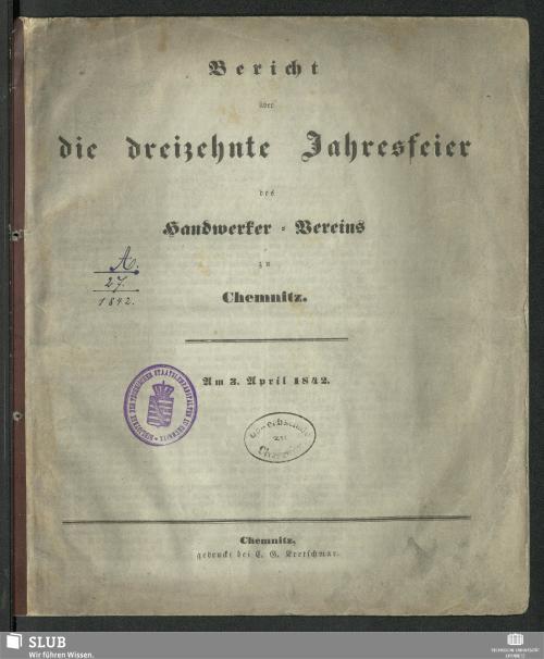 Vorschaubild von [Bericht über die Jahresfeier des Handwerkervereins zu Chemnitz]