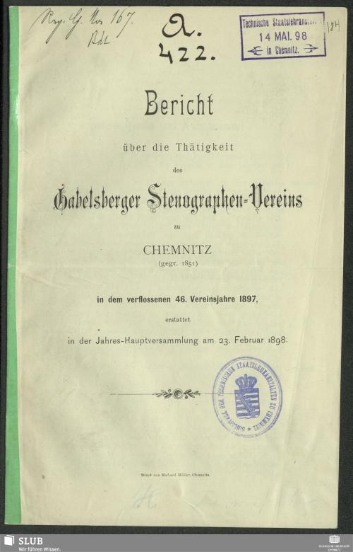 Vorschaubild von [Bericht über die Thätigkeit des Gabelsberger Stenographen-Vereins zu Chemnitz]
