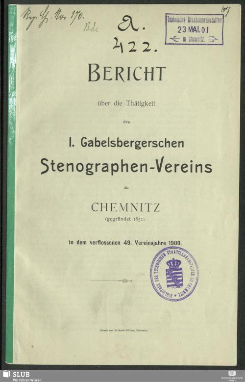 Vorschaubild von [Bericht über die Tätigkeit des 1. Gabelbergerschen Stenographen-Vereins zu Chemnitz]