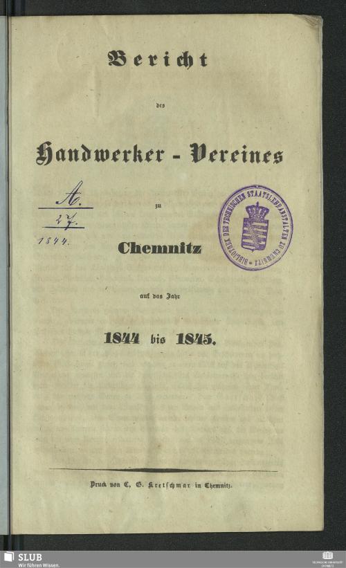 Vorschaubild von [Bericht des Handwerker-Vereines zu Chemnitz]