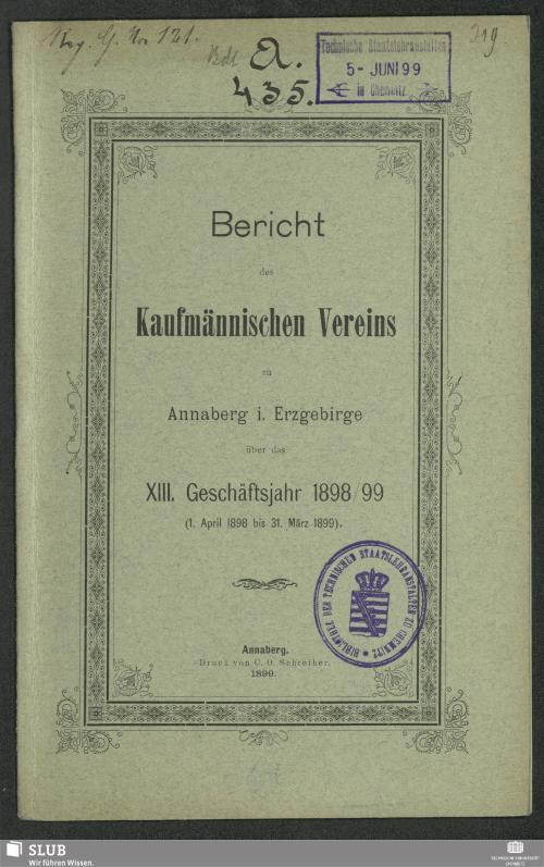 Vorschaubild von [Bericht des Kaufmännischen Vereins zu Annaberg im Erzgebirge]