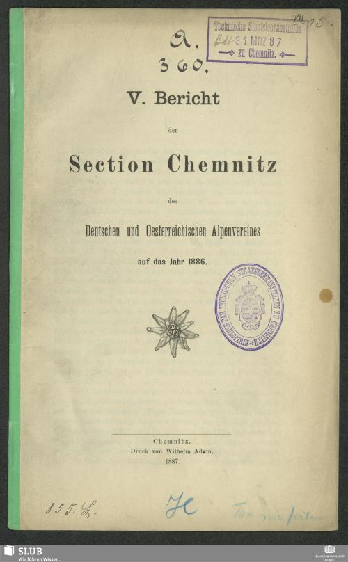 Vorschaubild von [Bericht der Section Chemnitz des Deutschen und Oesterreichischen Alpenvereins]