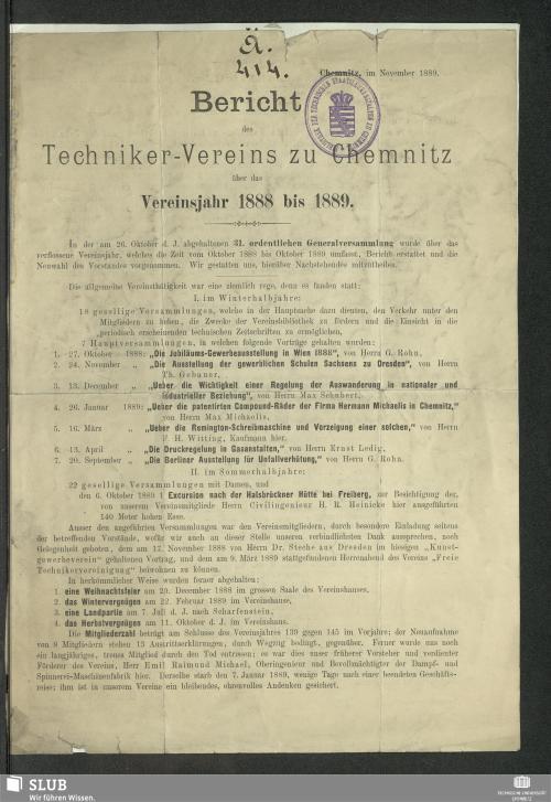 Vorschaubild von [Bericht des Techniker-Vereins zu Chemnitz]