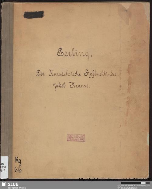 Vorschaubild von Der kursächsische Hofbuchbinder Jakob Krause