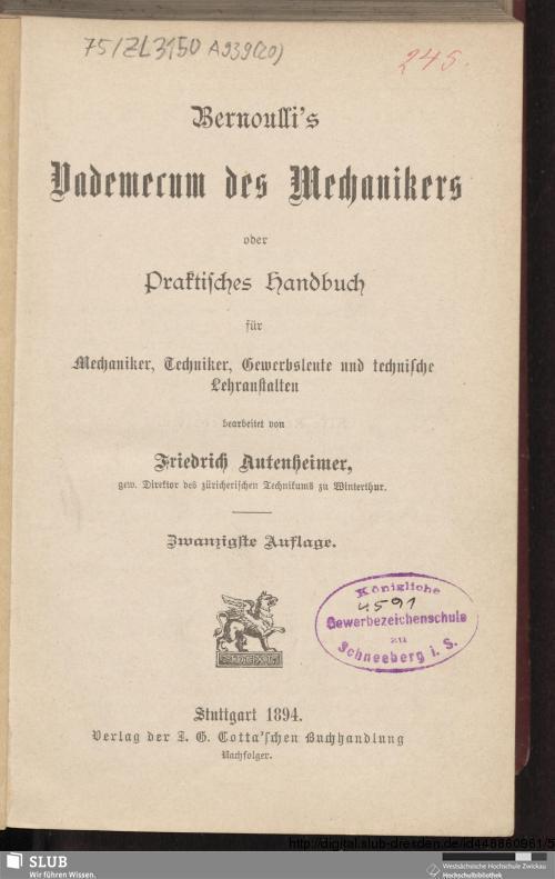 Vorschaubild von Bernoulli's Vademecum des Mechanikers