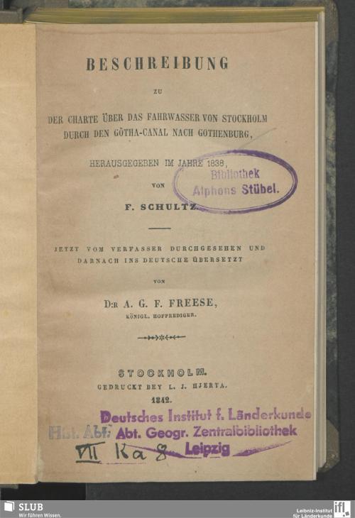 Vorschaubild von Beschreibung zu der Charte über das Fahrwasser von Stockholm durch den Götha-Canal nach Gothenburg