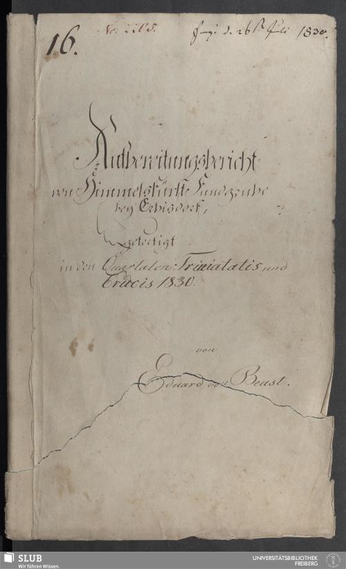 Vorschaubild von Aufbereitungsbericht von Himmelsfürst Fundgrube bey Erbisdorf - 18.6857 4.