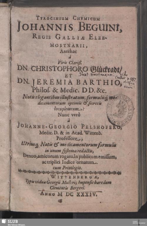 Vorschaubild von Tyrocinium Chymicum Johannis Beguini, Regis Galliae Eleemosynarii