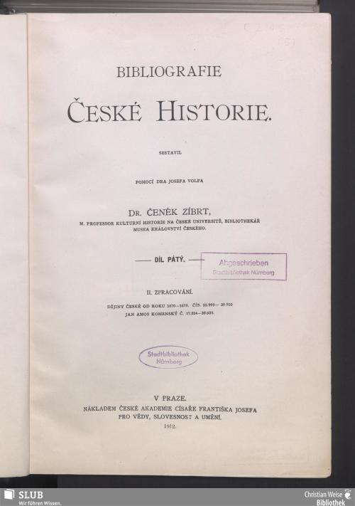 Vorschaubild von [Bibliografie české historie]