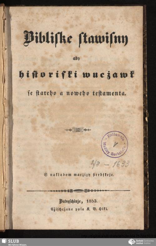Vorschaubild von Bibliske stawisny aby historiski wucżawk se stareho a noweho testamenta
