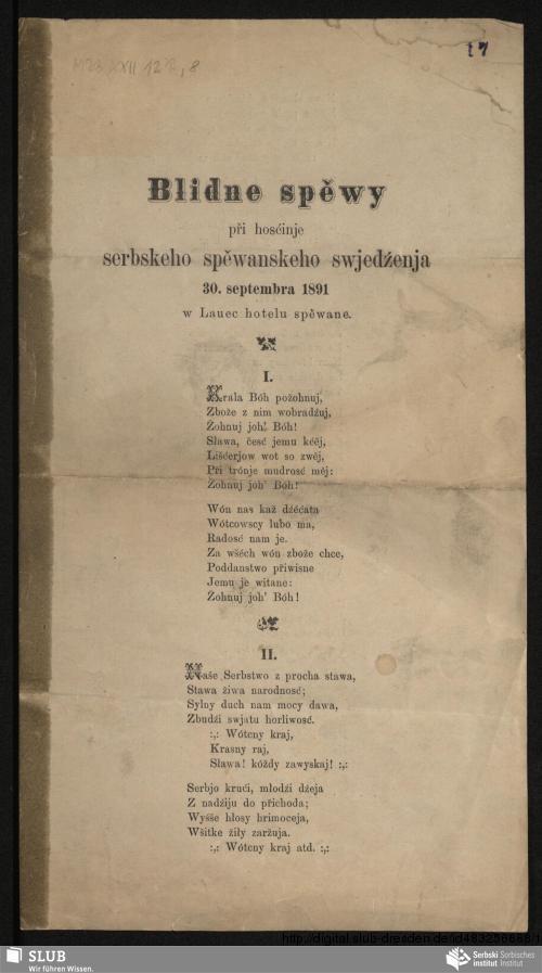 Vorschaubild von Blidne spěwy při hosćinje serbskeho spěwanskeho swjedźenja 30. septembra 1891 w Lauec hotelu spěwane
