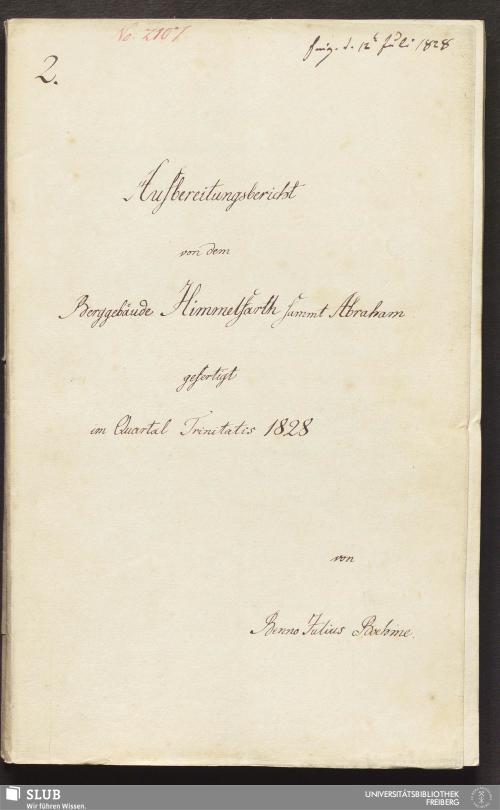 Vorschaubild von Aufbereitungsbericht von dem Berggebäude Himmelfarth sammt Abraham - 18.6759 4.