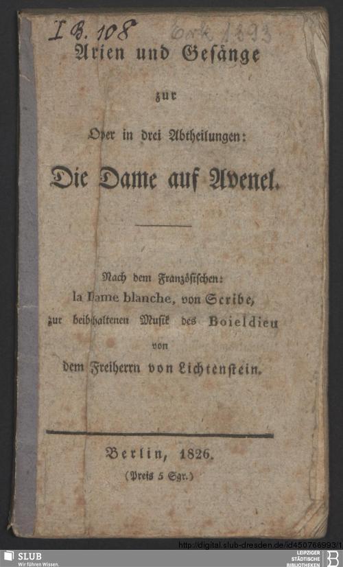 Vorschaubild von Arien und Gesänge zur Oper in drei Abtheilungen: Die Dame auf Avenel