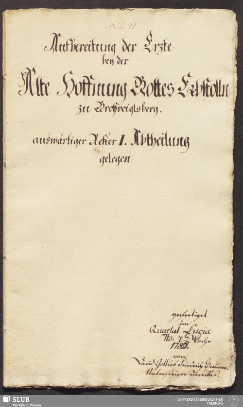 Vorschaubild von Aufbereitung der Erzte bey der Alte Hoffnung Gottes Erbstolln zu Großvoigtsberg auswärtiger Refier I. Abtheilung gelegen - 17.6065 4.